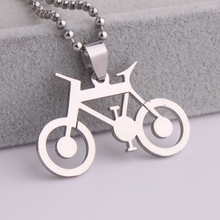 10pcs/lot Silver Hollow bicycle bike 316L Stainless Steel pendant necklaces bead chain for men women wholesale(China)