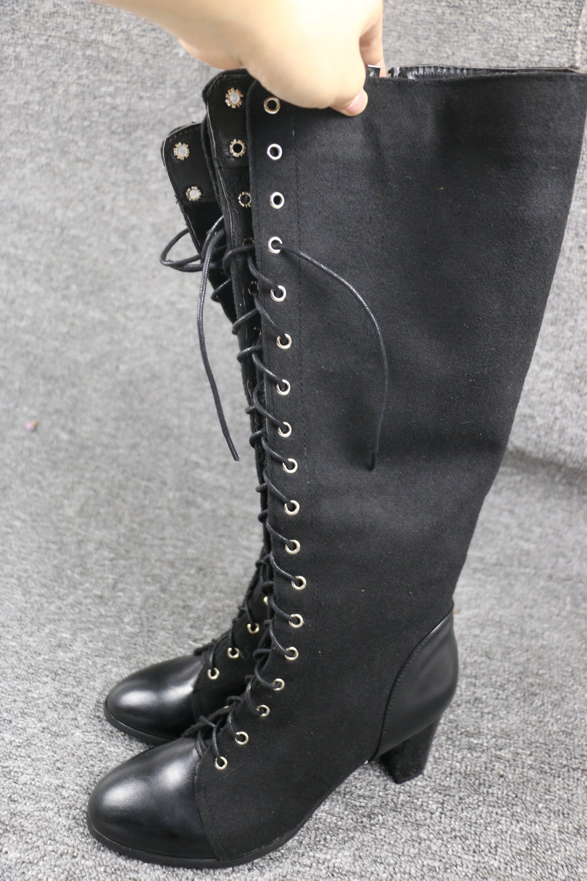 2018 Fashion Lace Up, Women's Knee High Boots, Round Toe Pu Leather, Square Heel Ladies Boots 20
