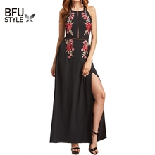 Buy Maxi Embroidery Chiffon Dress Halter Backless Sexy Dress Women Summer 2017 Elegant Evening Long Party Dress Black Vintage Robe for $14.82 in AliExpress store