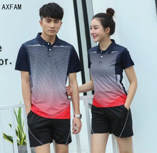AXFAM 2017 Turn-down collar Couples mounted Men and women's Tennis Shirts shorts kit sports Badminton Table Tennis clothing Y103