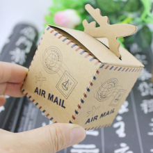 (100 pieces/lot)LEISO Brand Vintage Plane Air Mail Wedding Favor Candy Box Baby Shower Birthday Party Holder Kraft Paper Box