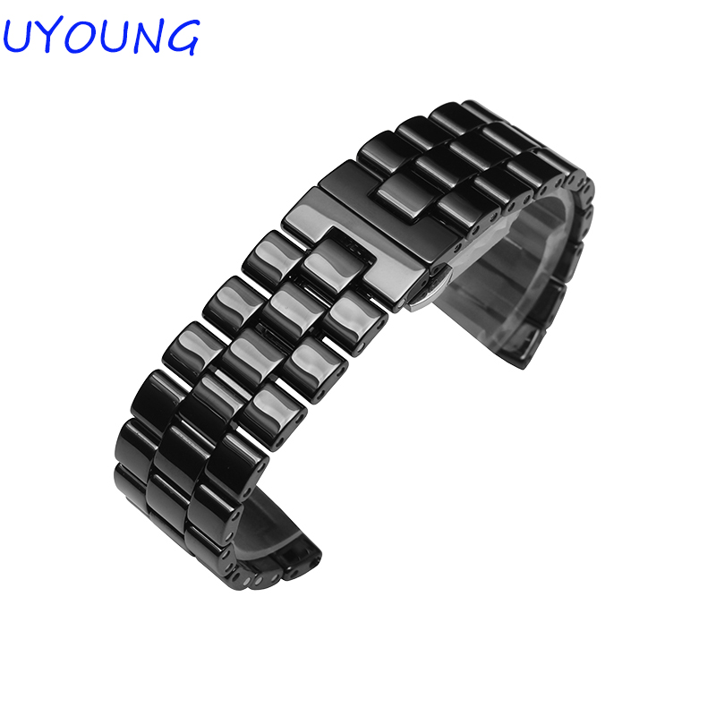 High Quality Ceramic Watchband 24mm Black White Mens Ceramic 3 beads Watch accessories Brand Special<br>