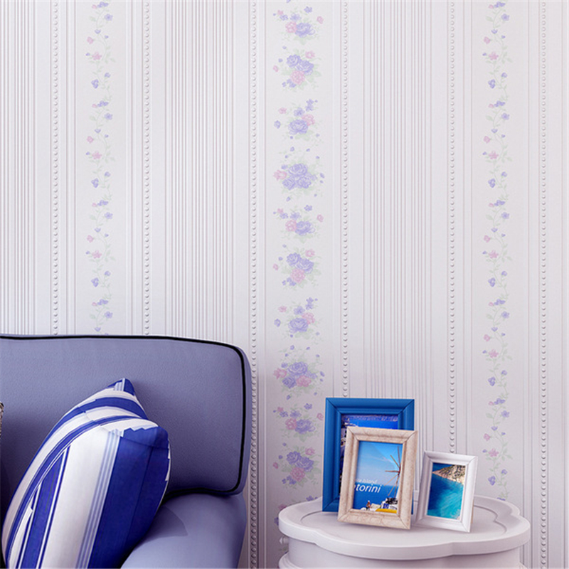 beibehang Personality non-woven romantic bedroom living room pastoral stereo vertical striped floral wallpaper<br>
