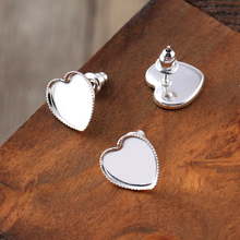 12mm 30pcs High Quality Silver Plated Copper Heart Ear Studs Earring Setting Base Cabochon Cameo Fashion Accessories (With Back)
