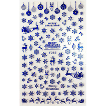 SUPER THIN SELF ADHENSIVE 3D NAIL ART NAIL SLIDER STICKER BLACK WHITE GOLD SILVER BLUE CHRISTMAS BELLS DEERS F283-284(China)