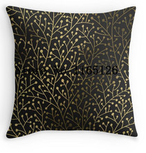 Hot Sale Gold Berry Branches on Black Luxury Printed Standard Throw Pillow Case Zippered Pillow Cover Protector(China)