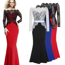 2017 Women Long Party Dress Summer Elegant Wedding Robe Vintage Lace Bodycon Dresses Evening Maxi Vestidos M17901(China)