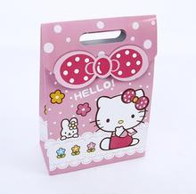 Paper packing bag Gift bag Hello Kitty cartoon gift present bag for party(China)