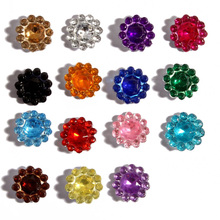 100pcs/pack 11mm 15colors Hotfix Bling Acrylic Pointback Rhinestone Buttons Artificial Plastic Decorative Crystal Strass Beads(China)