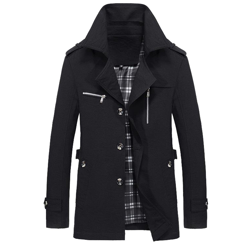Outwear Coat Trench-Buttons Elegant Winter Casual Mont-10 Windbreaker Long Warm Slim title=