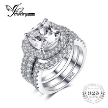 JewelryPalace Cushion 5ct CZ 3 Pc Wedding Band Stackable Halo Solitaire Engagement Ring Bridal Sets 925 Sterling Silver Jewelry(China)