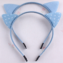 Lovely Girls Children Very Cute Soft Cotton Blue Denim Cat Ears Headband Solid Dots Print Animal Ears Personality Hairband