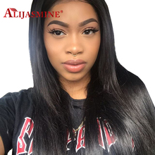 Peruvian Straight Full Lace Human Hair Wigs For Black Women Pre Plucked Full Lace Wig With Baby Hair Bleached Knots AliJasmine(China)
