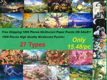Free Shipping Adult 1000 puzzles Noctilucen puzzle paper Landscape painting home Christmas gift toy jigsaw puzzles free online(China)