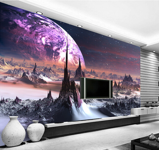 Custom photo wallpaper, 3D universe star landscape for living room bedroom KTV bar ceiling background wall waterproof wallpaper<br>
