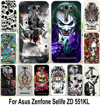 Phone Case For Asus Zenfone Selfie ZD551KL Cases 5.5 Inch Skull Cool Head Painting Hard PC Protector Phone Cover Para Hood Capa