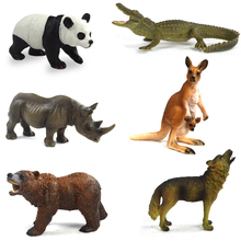 Wild Animal Model Original Genuine Wild Jungle Zoo Plastic Animals,   Kangaroo Wolf Rhino Panda Brown Bear Toy Children's Gift