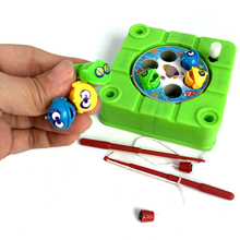 New Mini Magnetic Fishing Toy For Kids Rotating Wind Up Toys For Children Funny Fishing Game Fish Set(China)
