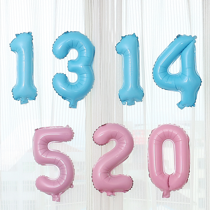 16inch Number Foil Balloons Pink Blue Digit helium ballon for Birthday Party Wedding Valentine's Day Holiday Decoration Supplies(China)