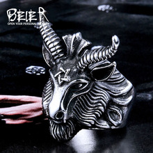 Beier new store 316L Stainless Steel ring top quality goat Ring 2015 New men vintage Jewelry Wholesale Factory Price LLBR8-182R(China)
