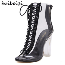 baibeiqi Women Gladiator Sandals PVC Clear High Heel Transparent Boots Lace Up High Top Bootie Pumps Perspex Lucite Summer Shoes
