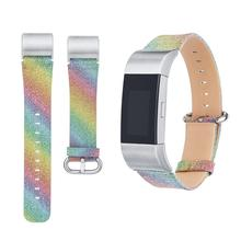 High Quality Watchband 2017 Sparkling Leather Band Bracelet Adjustable Comfortable Watchband For Fitbit Charge 2 watch accessory(China)