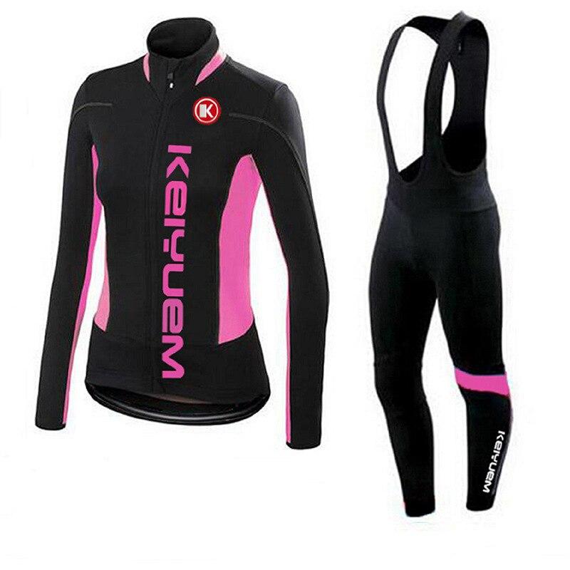 New Brand Womens Lycra Breathable Winter Thermal Cycling Clothing Sets Long Sleeve Cycling Jersey Bib Set Cheap Cycling Jerseys<br>