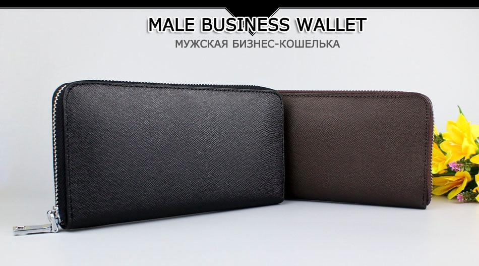Genuine Leather Men Wallet Luxury Brand Wallets Long Zipper Wallets ...