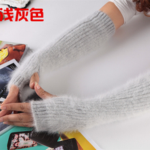 Long Hair Mink Velvet Thickening Arm Set Of Women And a Half Fingers Refers To The Long section Gloves Winter Warm Leave Sleeves(China)