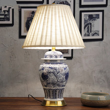 Art Chinese porcelain ceramic table lamp bedroom living room wedding table lamp Jingdezhen bedside lamp table blue and white