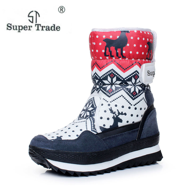 ST SUPER TRADE Free Shipping Popular Snow Boots For Women Flat Heel 3 Colors High Quality Cotton Waterproof Platform Boots ST70<br>