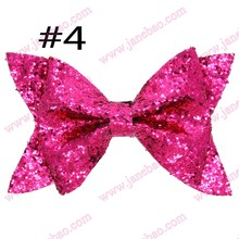 free shipping 20pcs 2017 4.5'' newest big seuqin hair bows with clips glitter hair bows big hair bows for girl hair assesories(China)