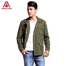 A ARCITON Fashion 4 Pockets Spring Jacket Men High Quality Cotton Coats Men Single Button COOL Mens Bomber Jacket(N-827)(China)