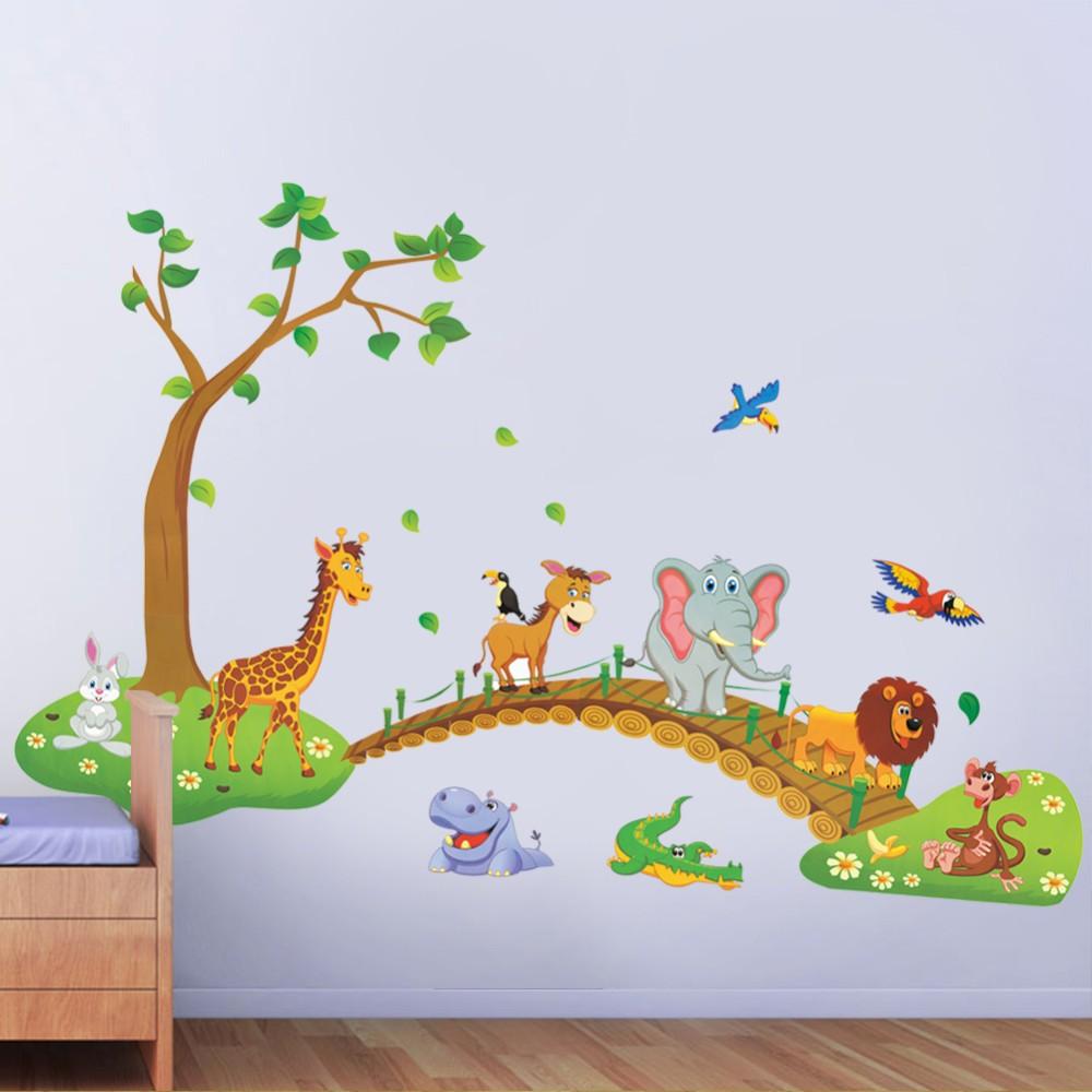 HTB1LeGhf3oQMeJjy0Fpq6ATxpXaK - 3D Cartoon Jungle wild animal tree bridge lion Giraffe elephant birds flowers wall stickers for kids room living room home decor