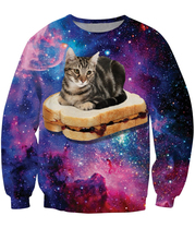 Free Shipping Cat PBJ Space Kitty Sweatshirt  Jumper Tops Style sandwich Galaxy Nebula Crewneck Outerweat For Women Men