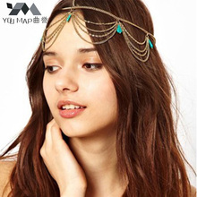 YouMap Charm Turquoises Headpiece Head Chain For Women Layered Tassel Headdress Jewelry Gold Color Headband Gypsy A4R21(China)