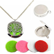 1PC Fashion Silver Round Wishing Box Pad Perfume Essential Oil Aromatherapy Diffuser Gift Punk Fragrance Tree Locket Necklace