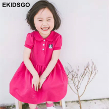 EKIDSGO New Arrivals Summer Short Sleeve Girls Dress POLO Elsa Dress For 18M~8Y Baby Girls Dress Robe Fille Enfant Elsa C049