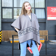 New winter apparel printing on both sides of imitation cashmere national wind tassel changed cape cape(China)