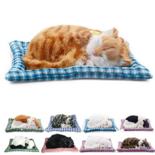 Cute 20cm 8 Styles Sleeping Simulation Sound Cat With Mat Electronic Pet Plush Soft Doll Animal Stuffed Toy For Baby Kids Gift