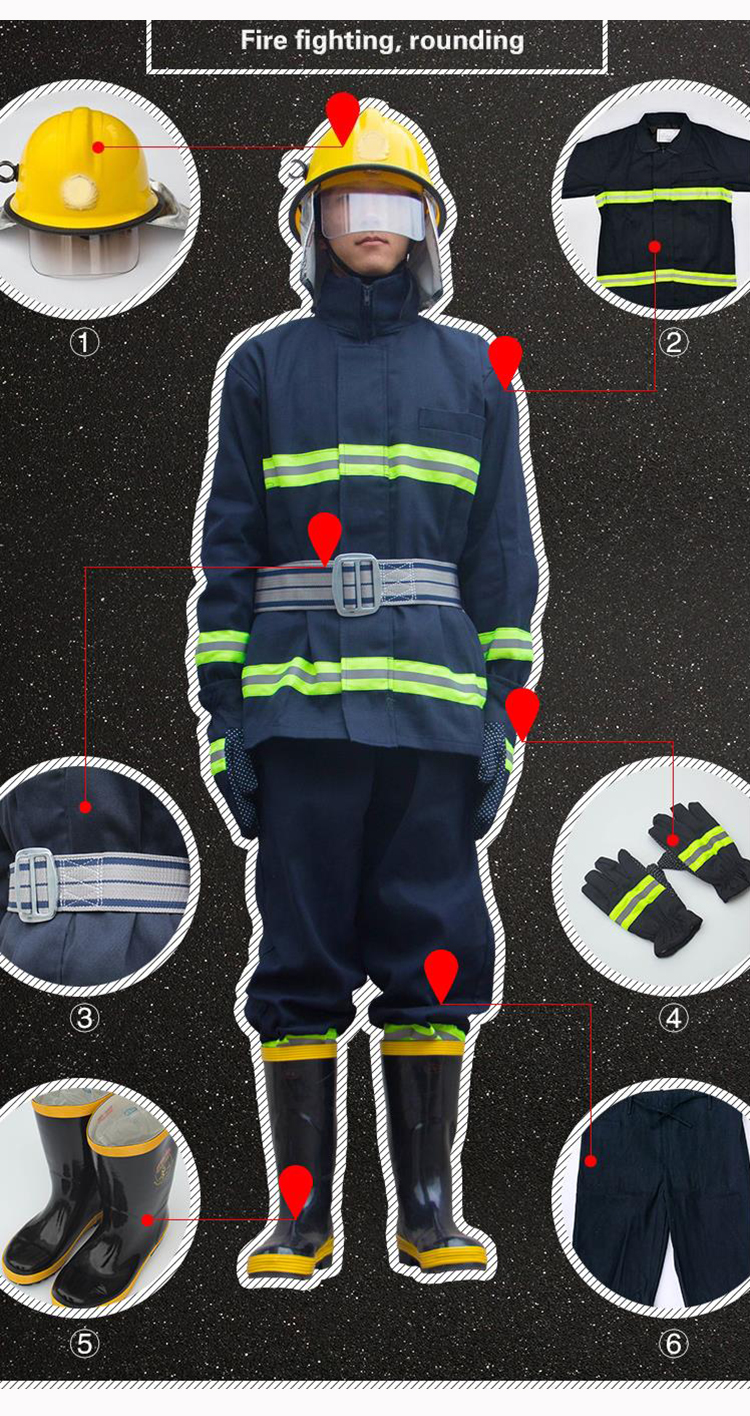 Fire Fighting Suit Fireproof Flame-retardant Protective Clothing Miniature Fire Station Full set of combat Suits Safety Clothes (9)