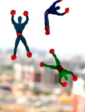 50pcs/lot Free shipping climbing spider man sticky climbing wall Superman nostalgic toys for children kids WYQ(China)