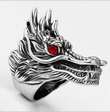Stainless Steel Dragon Rings Big Dragon Head with Red Stone Eyes Cool Rings For Men Punk Vintage Punk Rock Mens Fine Jewelry