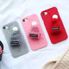 Phone Case For Apple iPhone X 5 5s SE Lovely Plush Warm Fur Ball Capa 3D Hat Hard Plastic Phone Cover For iPhone 6 6s 7 8 Coque(China)