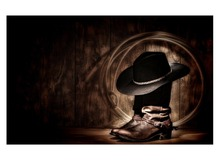 1 Panel Free Shipping cowboy hat and boots hd Art print canvas art wall framed paintings for living room wall picture Framed(China)