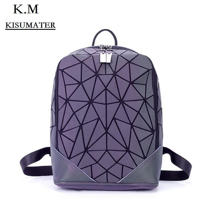 KISUMATER Students School Backpacks Womens  Geometry Backpack Luminous baobao Bag Casual backpack for girls Free Shipping <br>