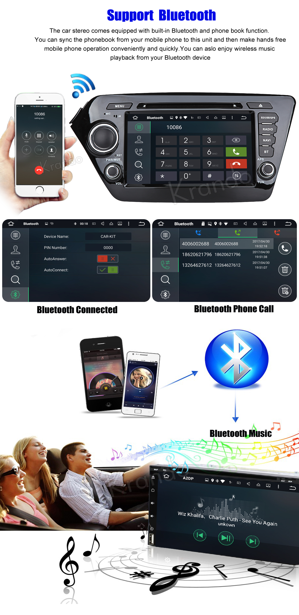 Krando kia k2 rio Android car radio gps navigation multimedia system (3)