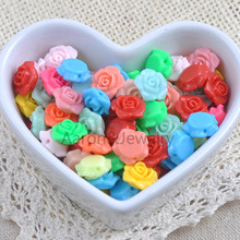 13x13mm 100Pcs Mixed color Acrylic Flower Spacer Beads Flatback Cabochon Scrapbooking Craft YKL0397X(China)