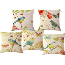 "Vintage bird Animal Home Decorative Throw Pillows with no filling Super Quality 17"" Linen Cushion Home Decor Pad Cojin(China)"