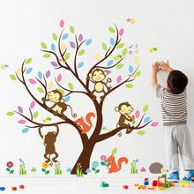 Forest Giraffee Lion Monkey Tree birds Butterfly around tree wall stickers decals Cartoon mural art Wall poster children gift(China)